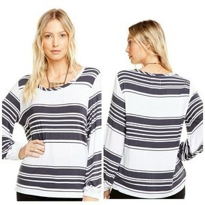 Chaser Stripe Jersey Bishop Long Sleeve Pullover S